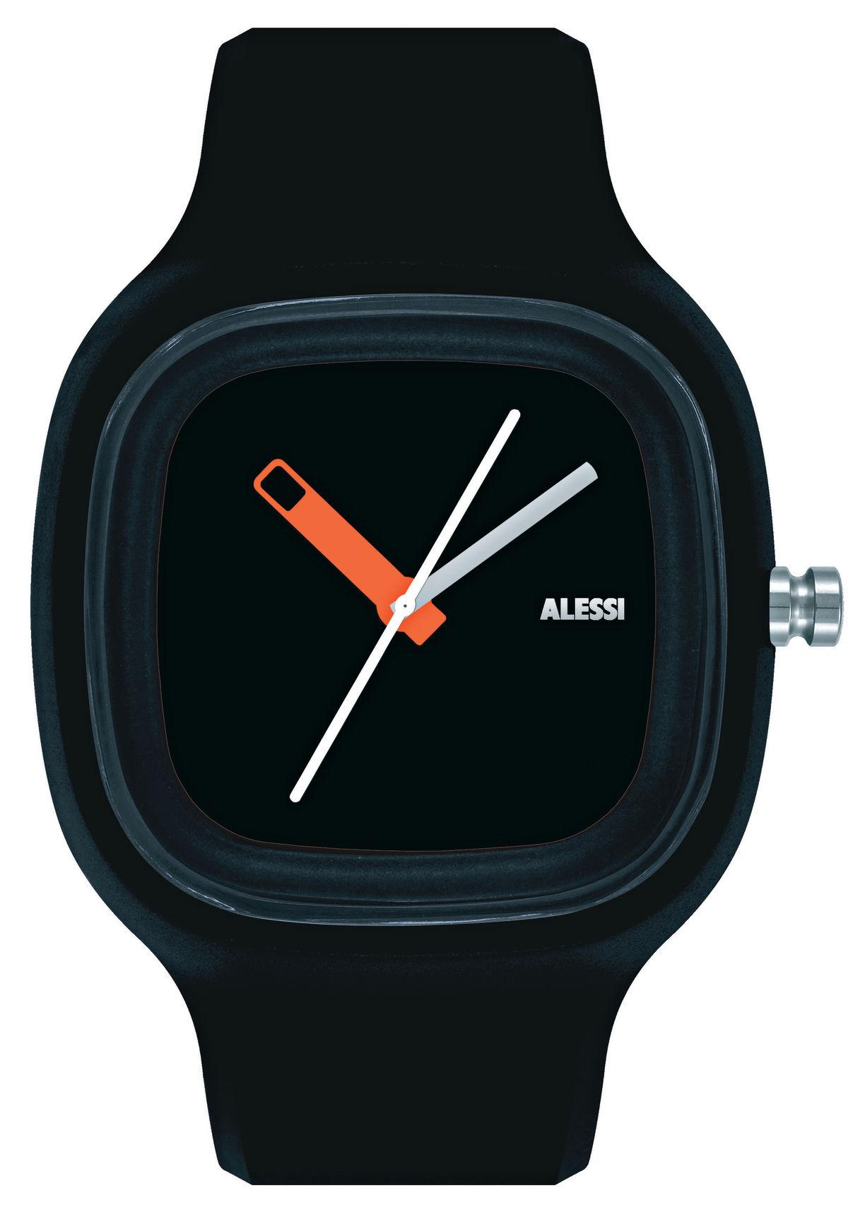 Accessori moda - Orologi - Orologio da polso Kaj - Versione tinta unita di Alessi Watches - Nero - Poliuretano