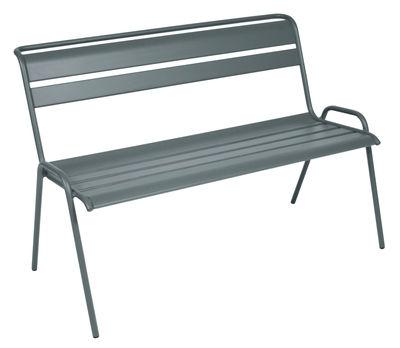 Arredamento - Panchine - Panca con schienale Monceau / da 2 a 3 posti - L 116 cm - Fermob - Grigio temporale - Acciaio verniciato