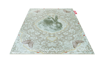 Decoration - Rugs - Non Flying Carpet Rug - Roger /180 x 140 cm by Fatboy - Blue / Rabbit print - Foam, Polyester fabric