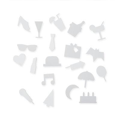 Set Symboles Party / pour tableau perforé - Design Letters blanc en matière plastique