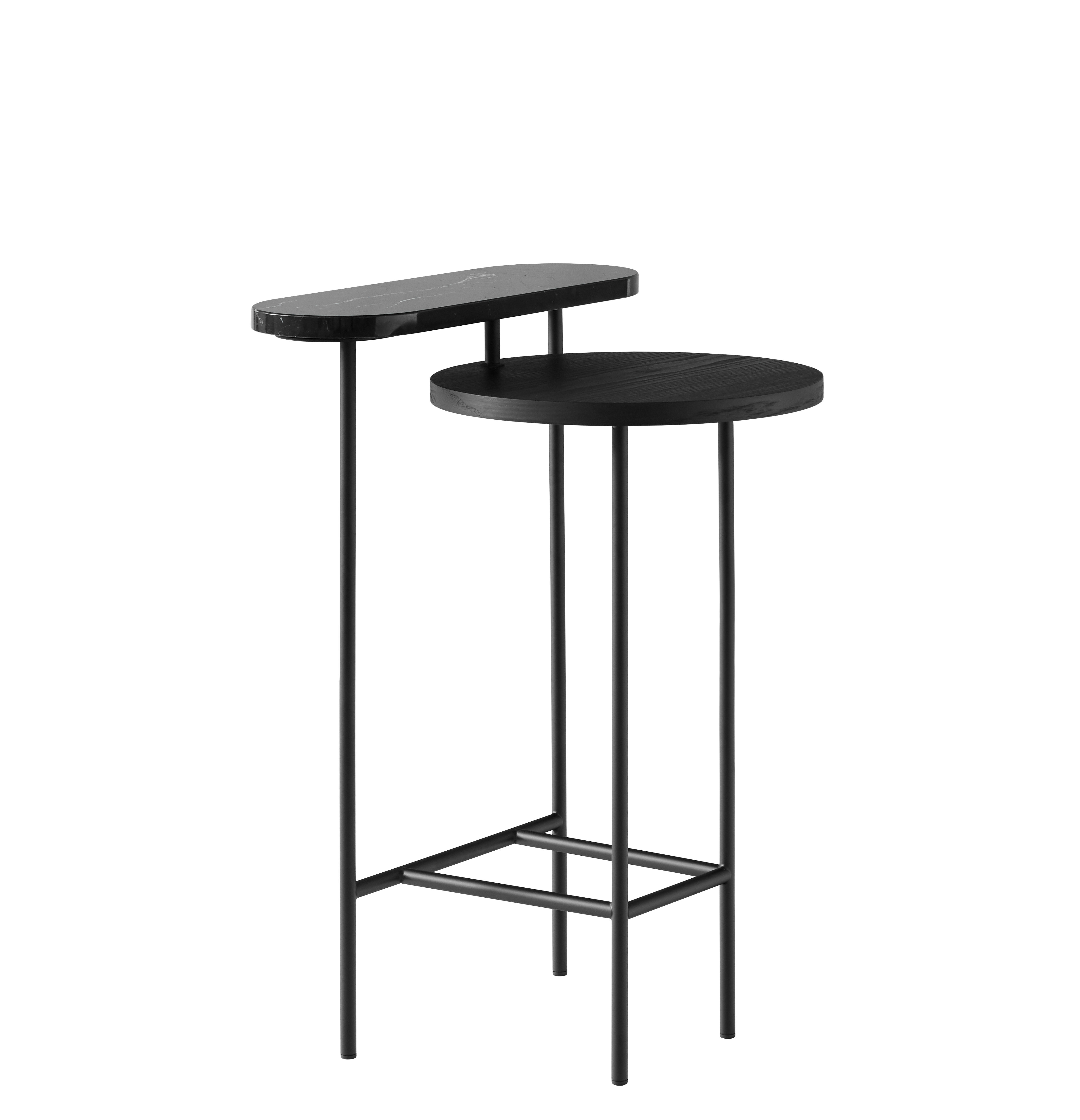Furniture - Coffee Tables - Palette JH26 Small table - / 2 tops by &tradition - Black - Epoxy lacquered steel, Lacquered ash, Marble