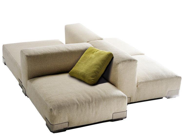 Möbel - Sofas - Plastics Duo Sofa Komposition Nr. 7 - Kartell - Grau Taubenblau - Gewebe, Polykarbonat