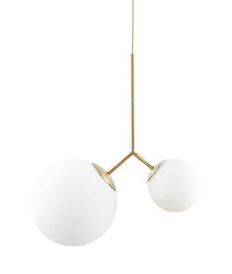 Illuminazione - Lampadari - Sospensione Twice - / Vetro - H 70 cm di House Doctor - Bianco / Ottone - Ottone, vetro soffiato