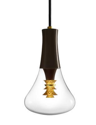Luminaire - Suspensions - Suspension 003 / LED - Verre - Plumen - Transparent, chocolat & or - Métal, Verre