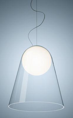 Luminaire - Suspensions - Suspension Satellight LED / Verre soufflé bouche - Foscarini - Transparent / Sphère blanche - Verre soufflé bouche