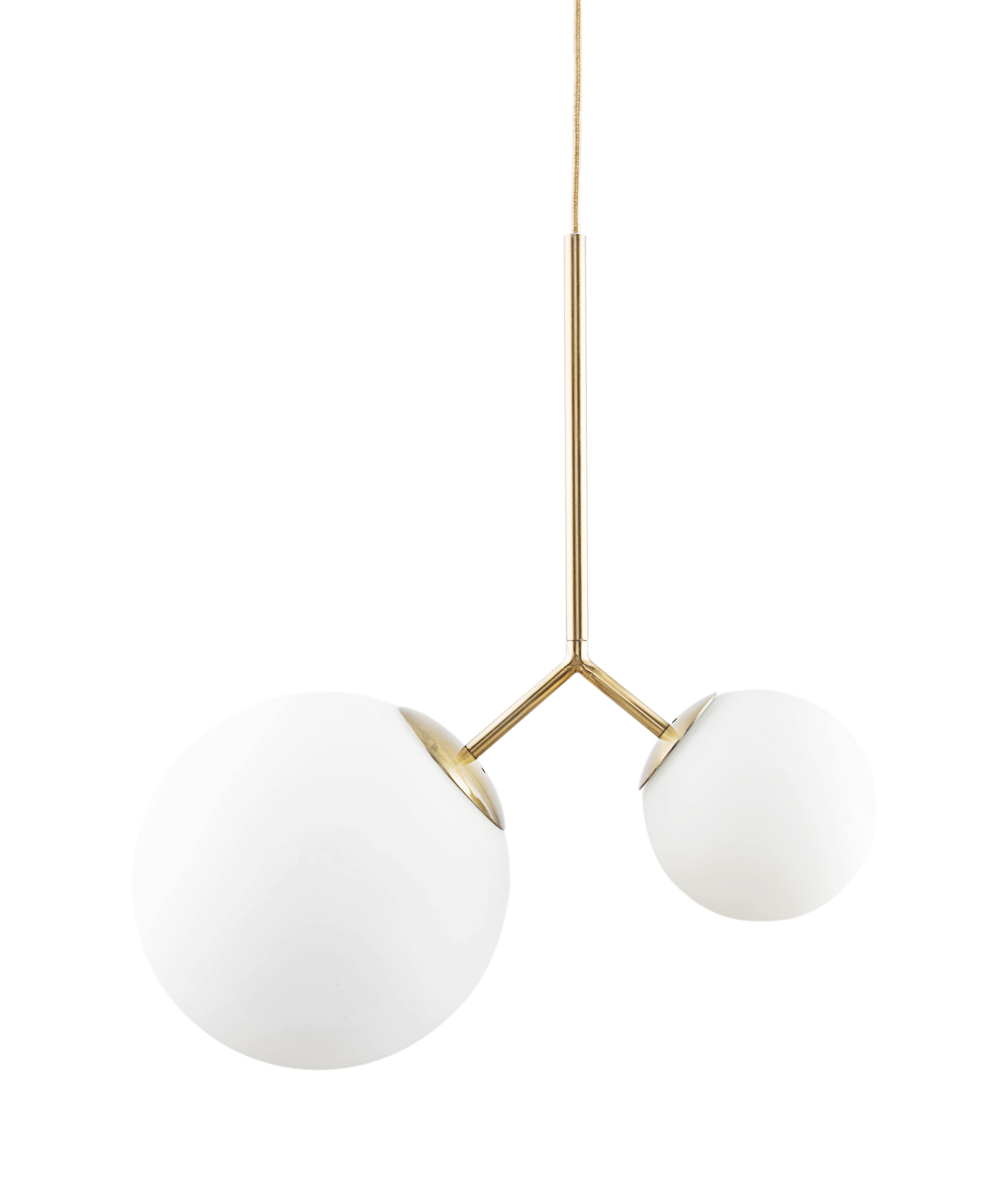 Luminaire - Suspensions - Suspension Twice / Verre - H 70 cm - House Doctor - Blanc / Laiton - Laiton, Verre soufflé