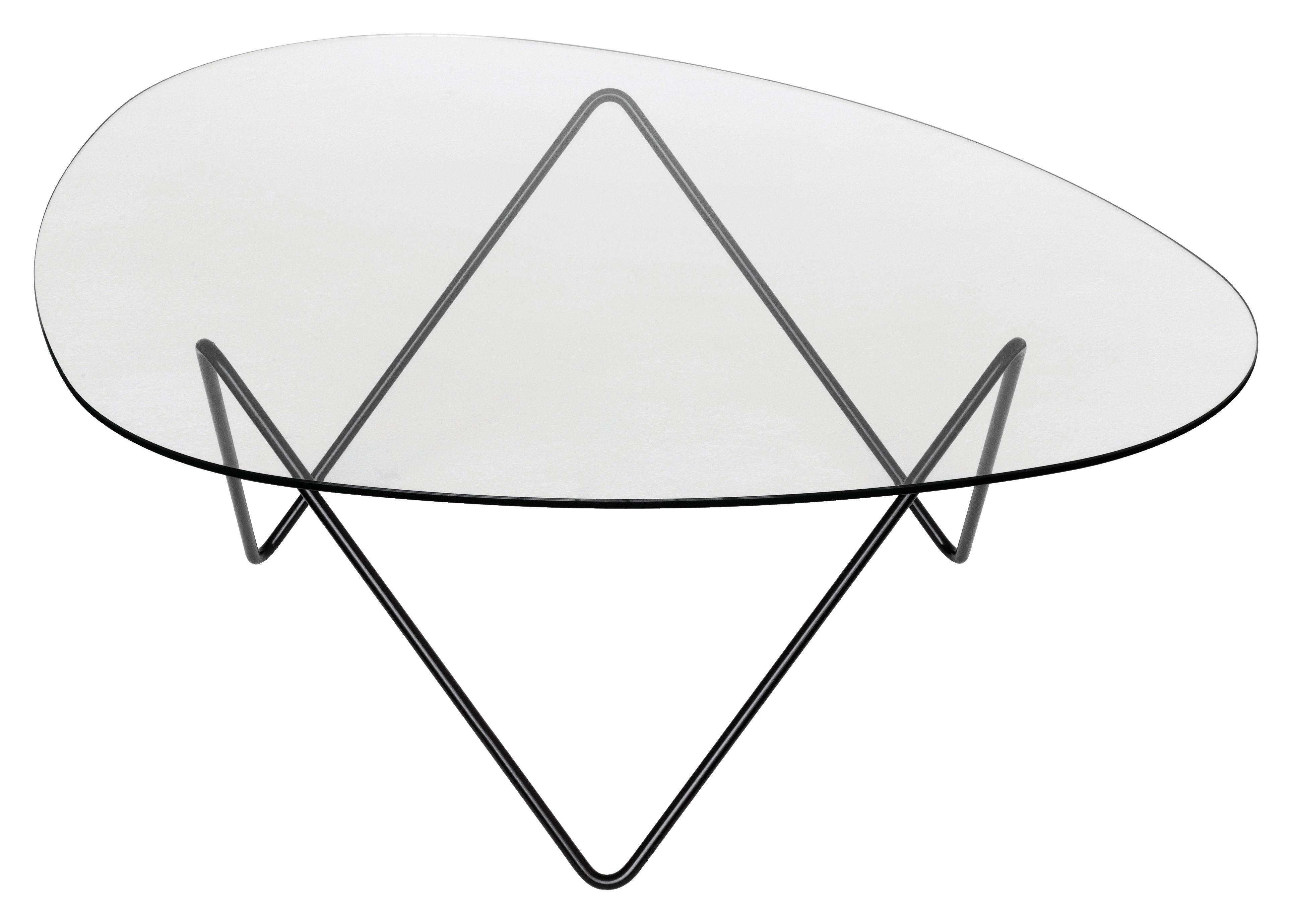Mobilier - Tables basses - Table basse Pedrera / H 38 cm - Réédition 1955 - Gubi - Pied noir / Plateau transparent - Acier peint, Verre