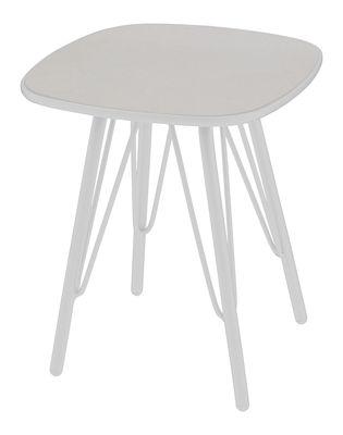 Table d´appoint Lyze / Plateau fibre-ciment - 40 x 40 cm - Emu blanc,gris clair en métal