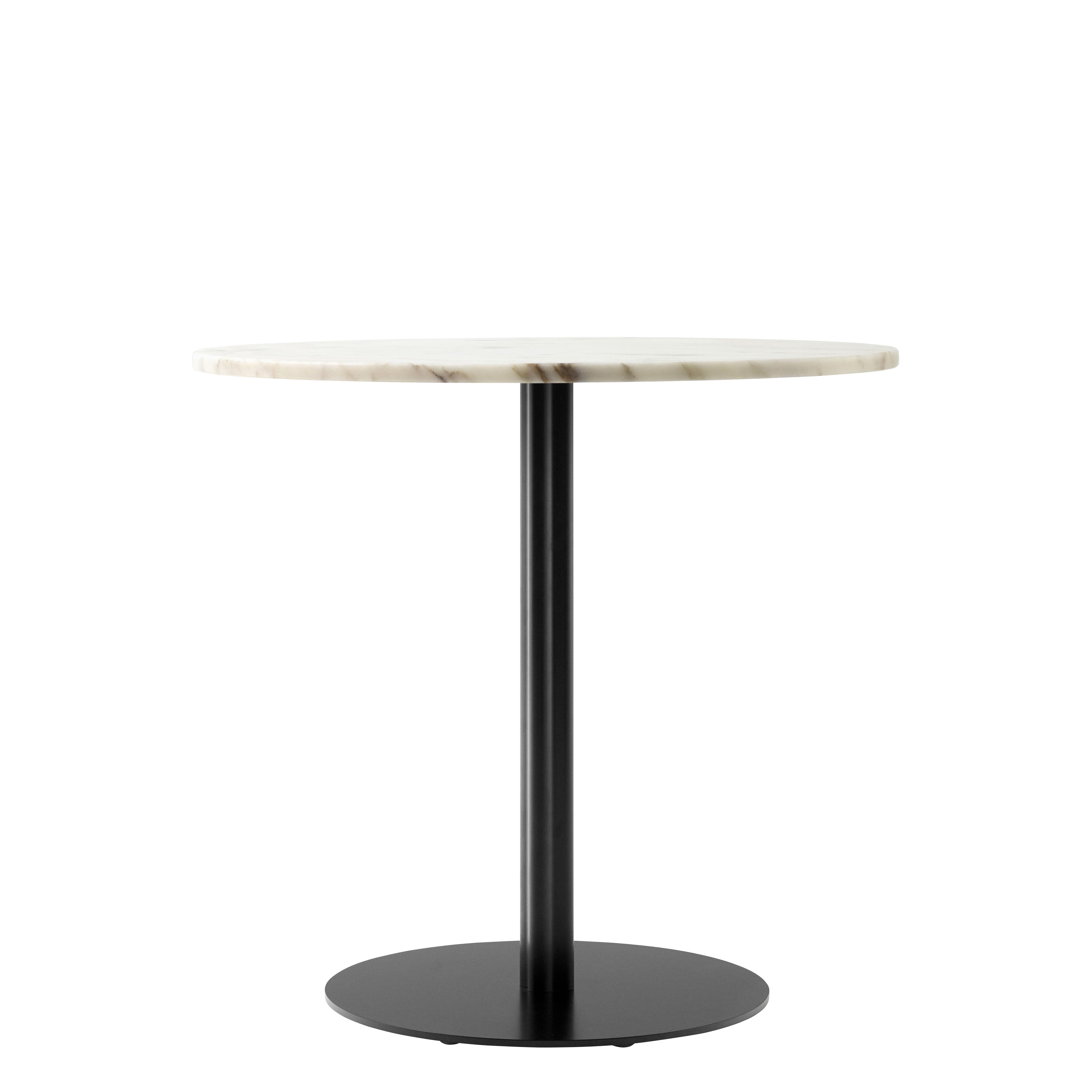 Tendances - Le Salon Fort intérieur - Table ronde Harbour / Ø 80 cm - Marbre - Menu - Marbre blanc / Pied noir - Acier, Aluminium, Marbre