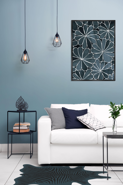 Tapis Zèbre Pôdevache Bleu Rayures Noires Made In Design
