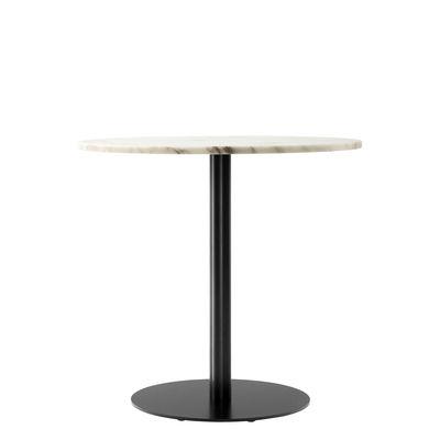 Tendenze - A tavola! - Tavolo rotondo Harbour - / Ø 80 cm - marmo di Menu - Marmo bianco / Piede nero - Acciaio, Alluminio, Marmo