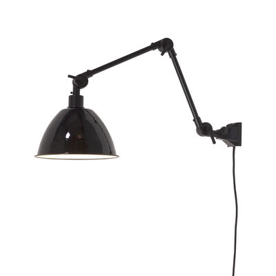 Lighting - Wall Lights - Amsterdam Medium Wall light with plug - / Metal lampshade - L 85 cm by It's about Romi - Black - Iron