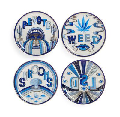 Tischkultur - Topfuntersetzer - Druggist Coaster Ablage / 4er-Set - Porzellan & goldfarben - Jonathan Adler - Weiß / blau / goldfarben - Porzellan