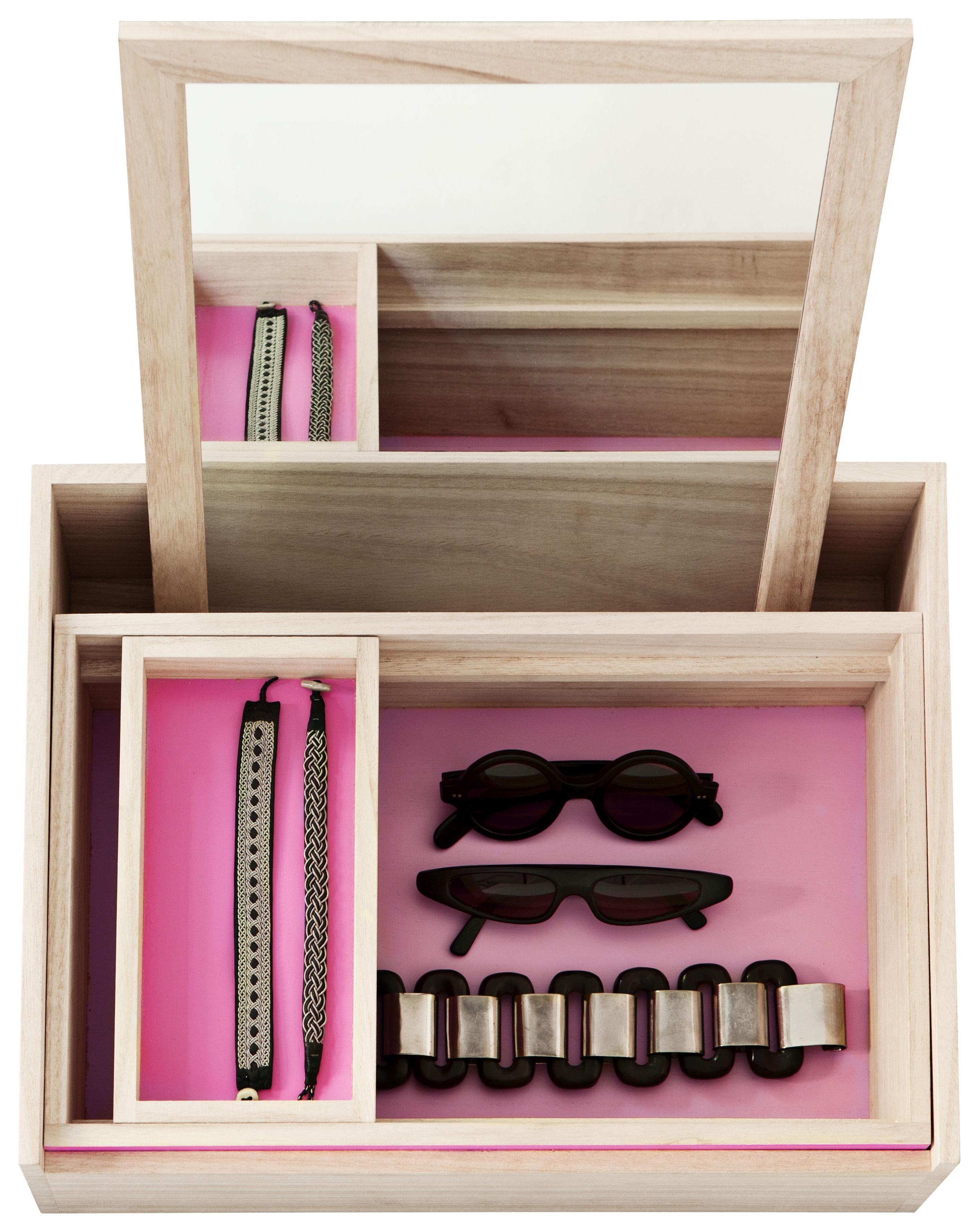 Accessoires - Accessoires salle de bains - Boîte à bijoux Balsabox Personal / Coiffeuse - 42 x 32 cm - Nomess - Bois naturel / intérieur rose - Bois de balsa