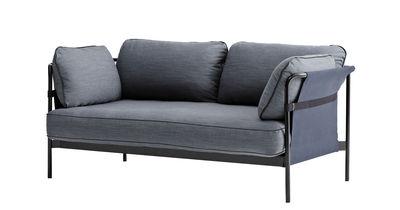 Mobilier - Canapés - Canapé droit Can / 2 places - L 172 cm - Hay - Gris-bleu & côtés bleus / Métal noir - Métal, Mousse, Tissu