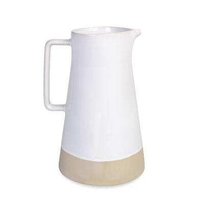 Arts de la table - Carafes et décanteurs - Carafe / Grès bicolore naturel - Ø 14 x H 23,5 cm - Au Printemps Paris - Blanc / Bande naturelle - Grès