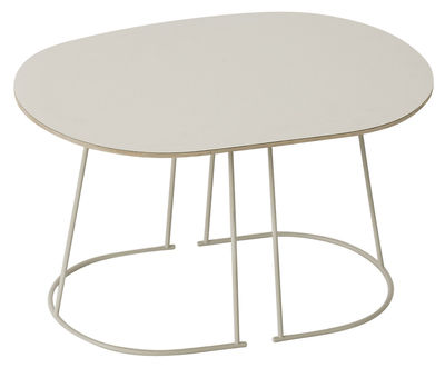 Furniture - Bedside & End tables - Airy Coffee table - / Small - 68 x 44 cm by Muuto - Off white - Painted steel, Plywood, Stratified