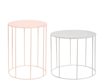 Furniture - Coffee Tables - Coffee table - / Set of 2 - Metal by & klevering - Grey / Pink - Painted metal