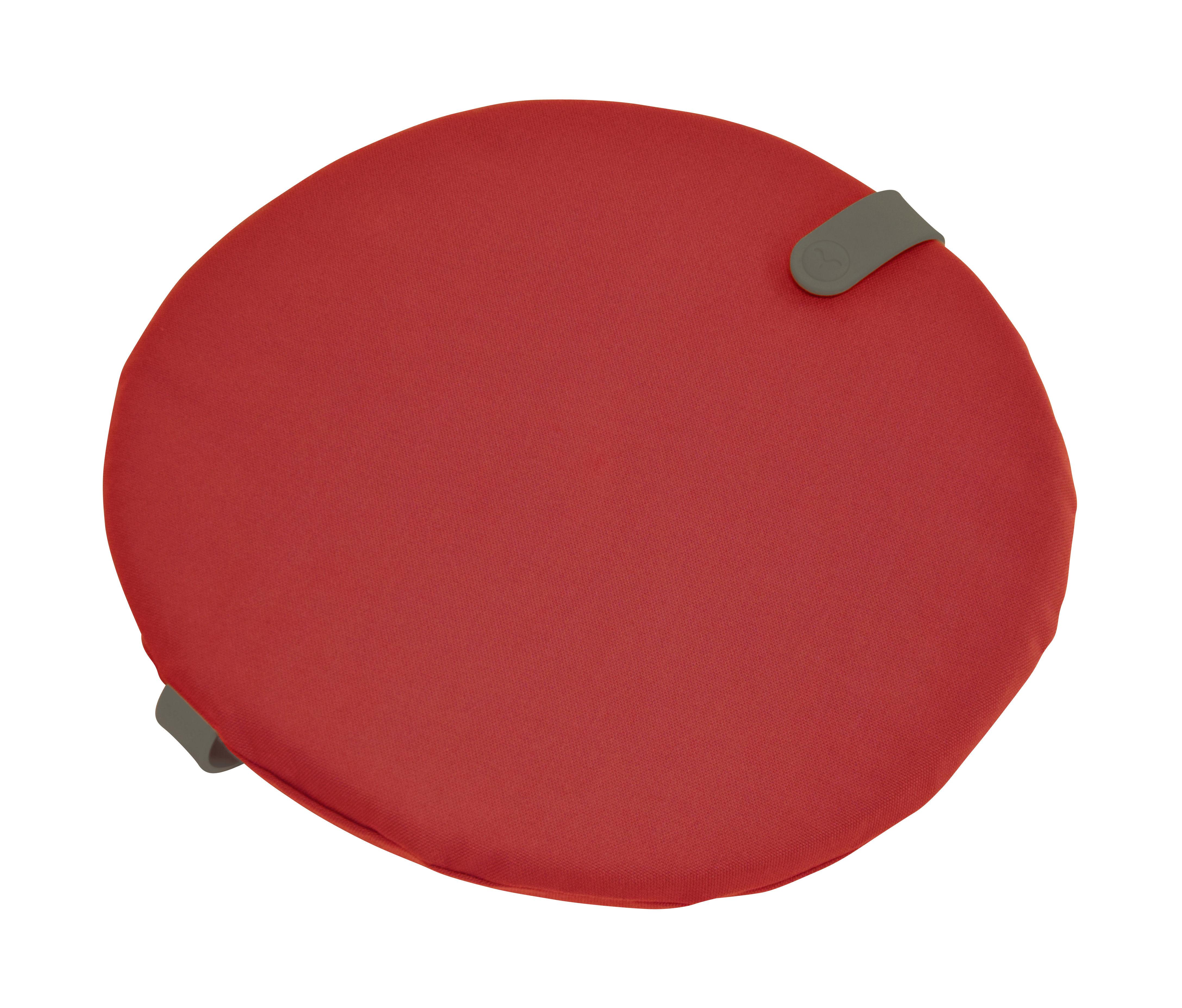 Interni - Cuscini  - Cuscinetto per sedia Color Mix - / Ø 40 cm di Fermob - Rosso candy / Cinghia Rosmarino - Espanso, PVC, Tessuto acrilico