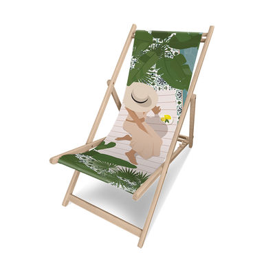 Outdoor - Sun Loungers & Hammocks - Hula Deckchair - / Without armrests by PÔDEVACHE - Woman with hat / Multicoloured - Eucalyptus wood, Polyester cloth