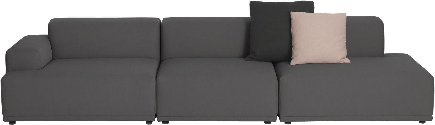 Arredamento - Divani moderni - Divano destro Connect - / 3 moduli - L 326 cm di Muuto - Grigio antracite - Remix 163 - Espanso, Legno, Tessuto Kvadrat