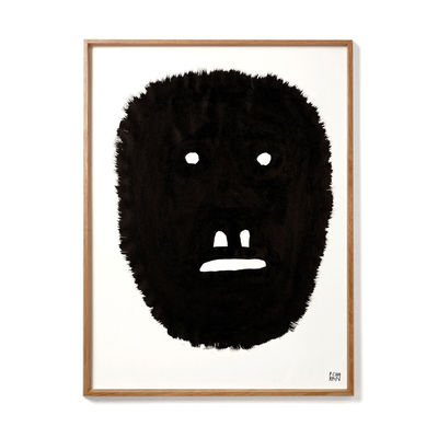 Decoration - Wallpaper & Wall Stickers - Pierre Charpin - Anxious Monkey Framed poster - / Limited, numbered edition - 50.6 x 66.5 cm by The Wrong Shop - Anxious Monkey / Black & oak frame - Oak, Plexiglass, Premium paper