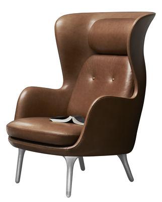 Möbel - Lounge Sessel - Ro Gepolsterter Sessel / Leder - Fritz Hansen - Braunes Leder - gebürstetes Aluminium, Genuine leather, Polyurethan-Schaum, Polyurhethan