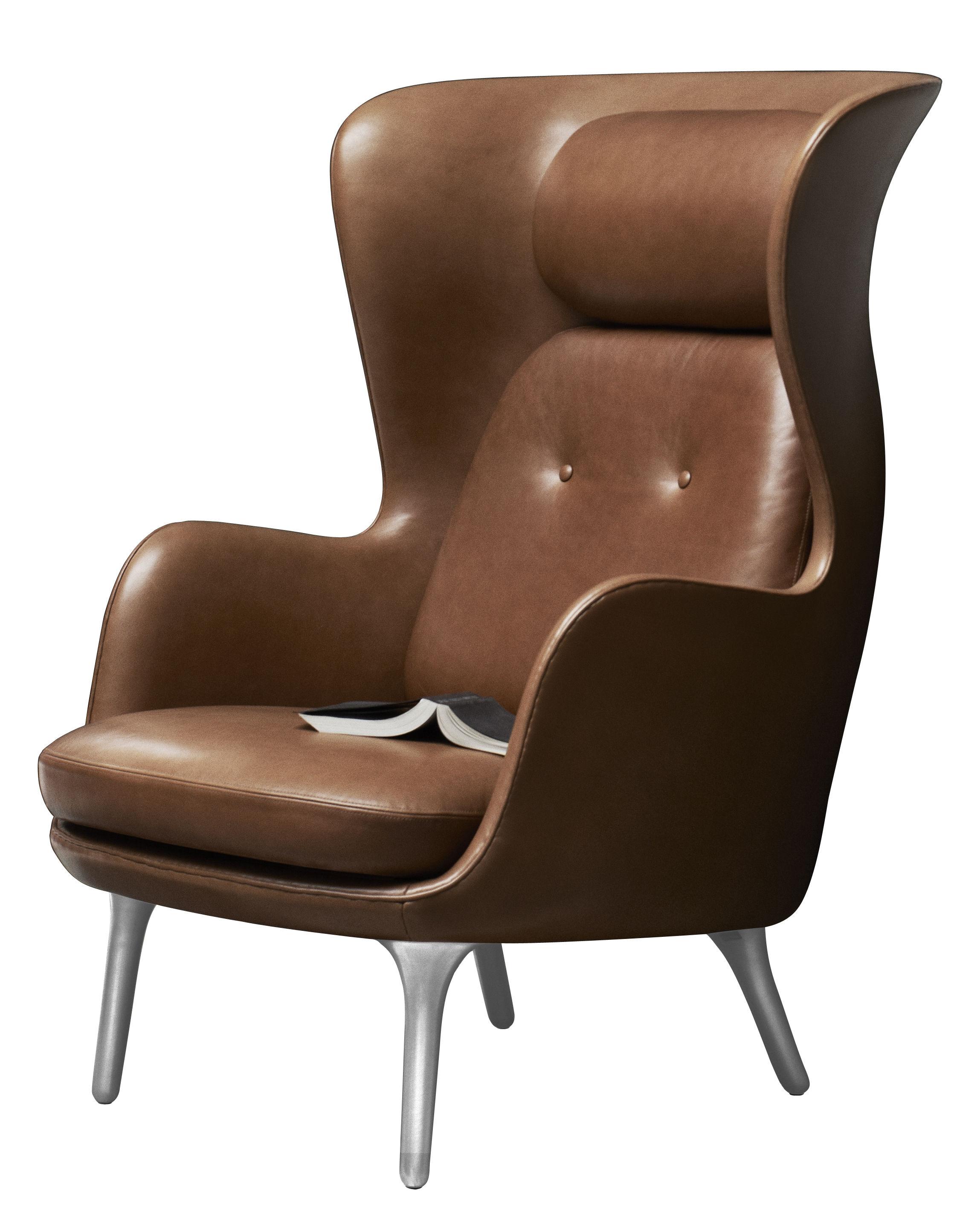 Möbel - Lounge Sessel - Ro Gepolsterter Sessel / Leder - Fritz Hansen - Braunes Leder - Cuir véritable, gebürstetes Aluminium, Polyurethan-Schaum, Polyurhethan