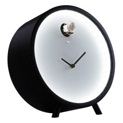 Déco - Horloges  - Horloge à poser Plex à coucou / Lumineuse - Diamantini & Domeniconi - Cadre noir / cadran blanc - Multiplis de bouleau laqué, Plexiglas