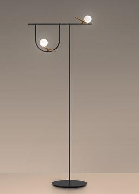 Illuminazione - Lampade da terra - Lampada a stelo Yanzi LED - / Ottone & vetro di Artemide - Nero & ottone / Sfere bianche - Acciaio laccato, Ottone, vetro soffiato