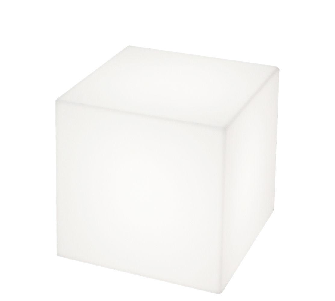 Mobilier - Poufs - Lampe sans fil Cubo LED / 30 cm - Slide - 30 x 30 cm / Blanc - polyéthène recyclable