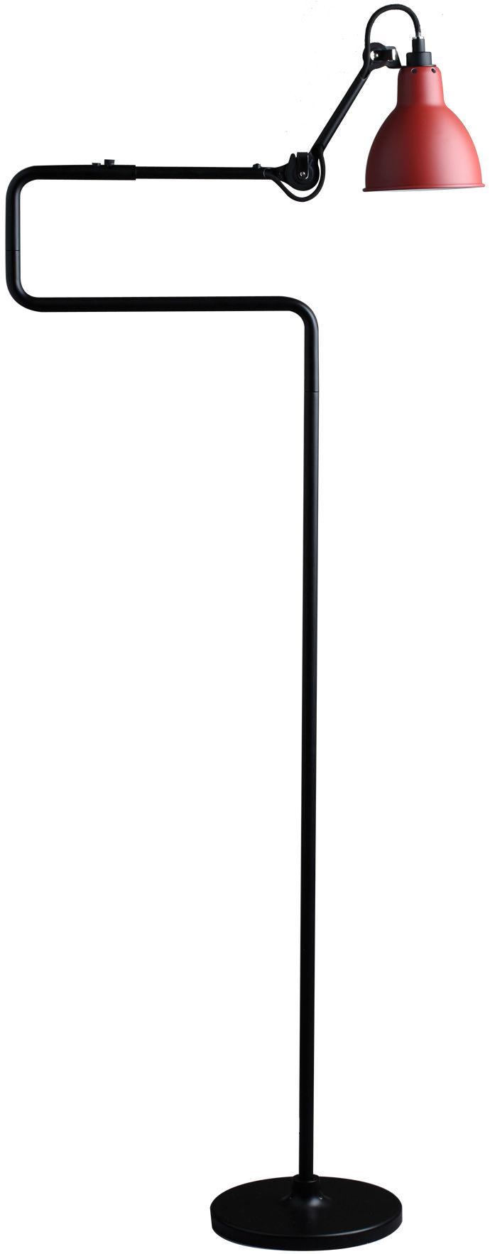 Leuchten - Stehleuchten - N°411 Leseleuchte / H 138 cm - DCW éditions - Lampenschirm rot / Halterung und Arm schwarz - Stahl