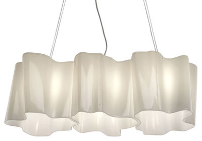 Lighting - Pendant Lighting - Logico Mini Pendant - 3 elements in a row by Artemide - White - small - Blown glass