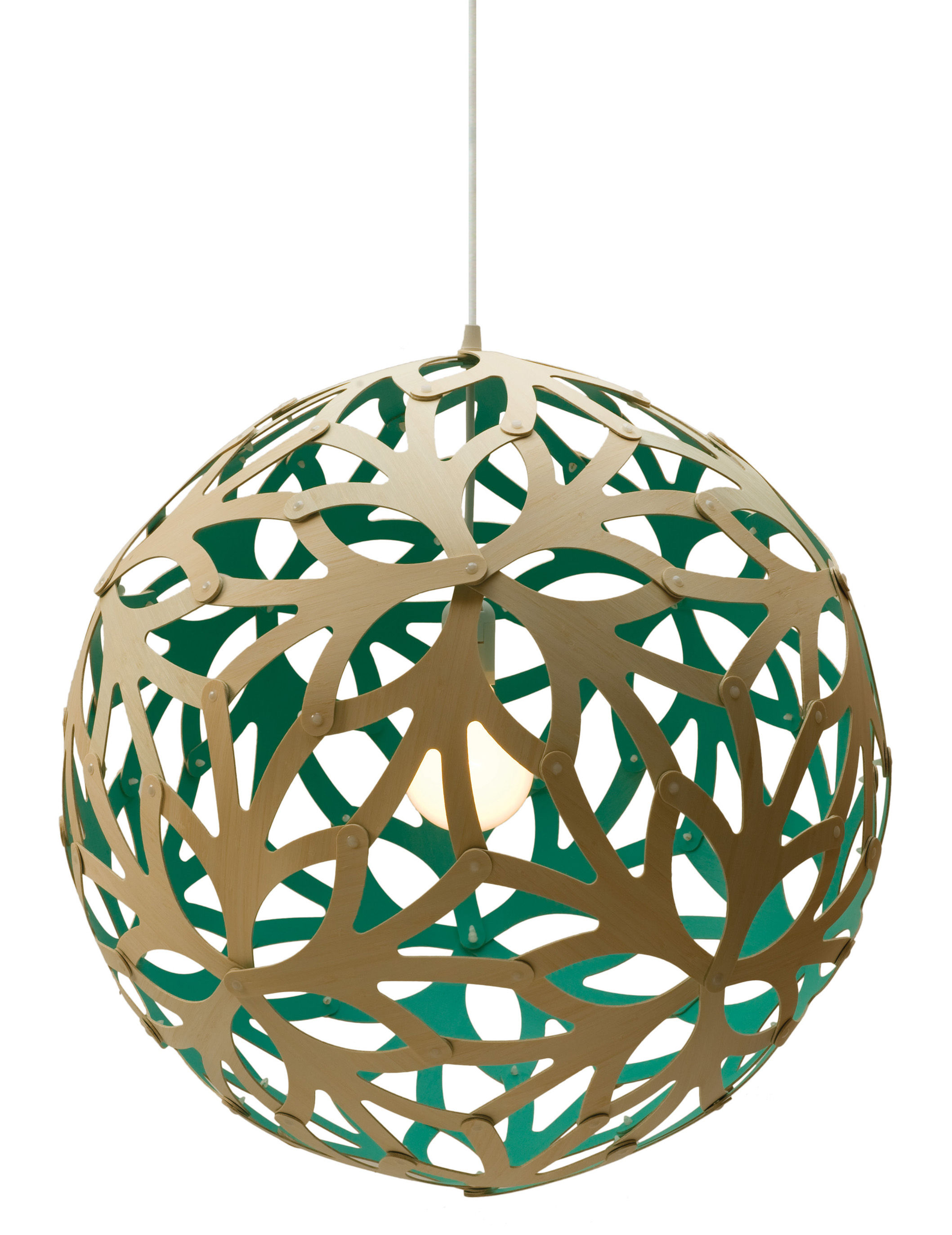 Lighting - Pendant Lighting - Floral Pendant - Ø 60 cm - Bicoloured by David Trubridge - Aqua blue / Natural wood - Pine