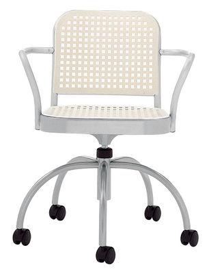Arredamento - Mobili Ados  - Poltrona a rotelle Silver di De Padova - Alluminio satinato/ Bianco - alluminio satinato, Polipropilene