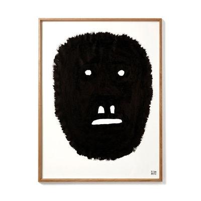 Interni - Sticker - Poster incorniciato Pierre Charpin - Anxious Monkey - / Edizione limitata & numerata - 50,6 x 66,5 cm di The Wrong Shop - Anxious Monkey / Nero & cornice rovere - Papier premium, Plexiglas, Rovere