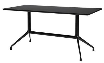 Möbel - Büromöbel - About a Table rechteckiger Tisch / 180 x 90 cm - Hay - Schwarz - gefirnistes Linoleum, Gussaluminium