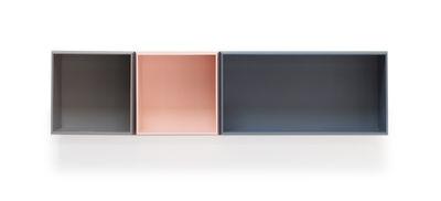 Möbel - Regale und Bücherregale - Isou n°2 Regal / Set mit 3 modulierbaren Kästen - Compagnie - Madrid-grau / Braun / Rosa - lackierte Holzfaserplatte