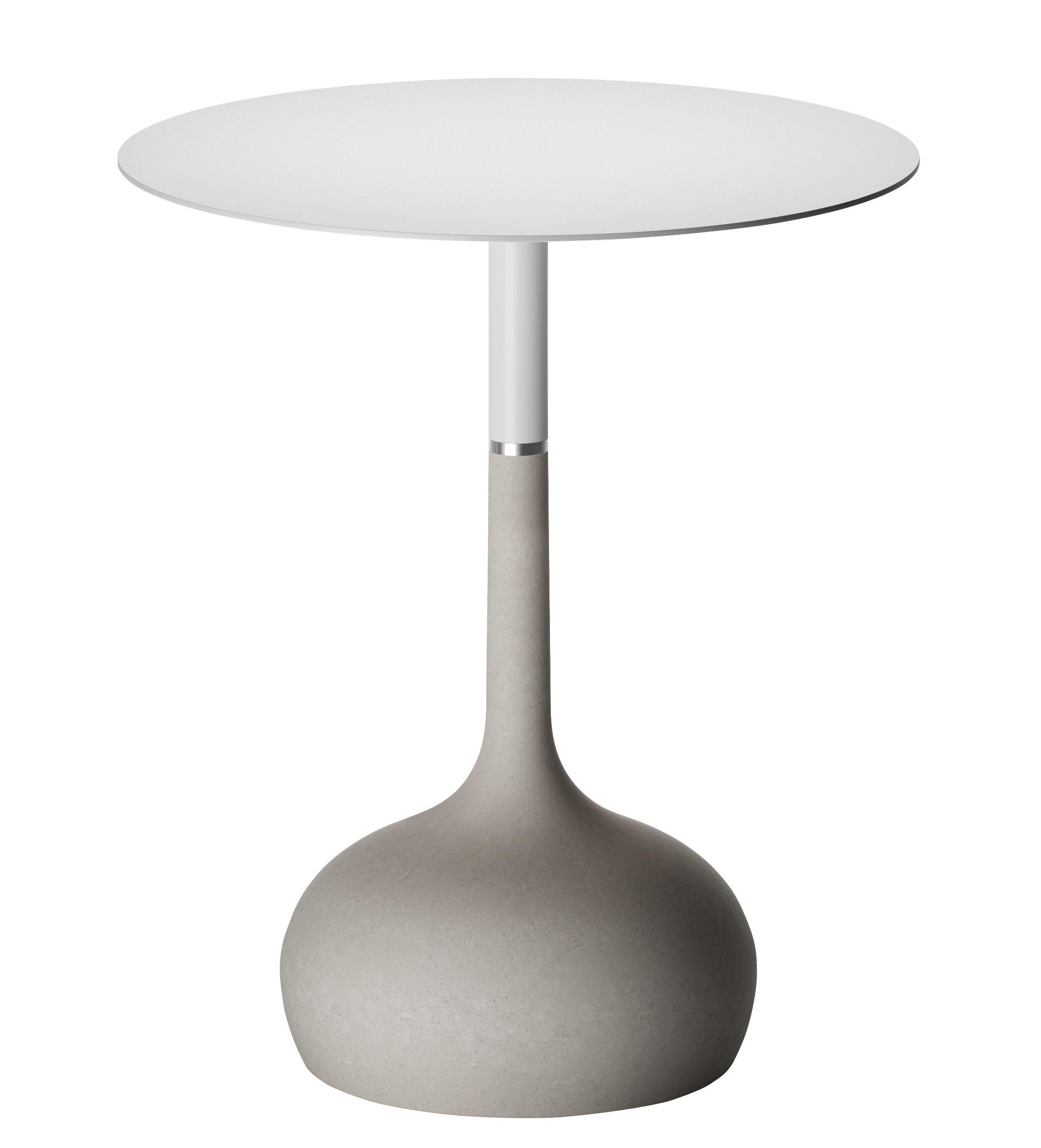 Maison et Objet - Raw materials - Saen XS Round table - Concrete base - Ø 70 cm by Alias - Textured white / Grey concrete - Concrete, Lacquered steel