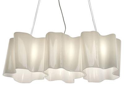 Illuminazione - Lampadari - Sospensione Logico Mini - 3 elementi in linea di Artemide - Bianco - mini - vetro soffiato