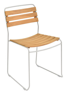 Furniture - Chairs - Surprising Stacking chair - / Wood & metal by Fermob - Metal grey / Wood - Oiled teak, Painted steel