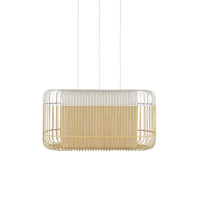 Luminaire - Suspensions - Suspension Bamboo Oval / XL - 78 x 45 x H 40 cm - Forestier - Blanc - Bambou