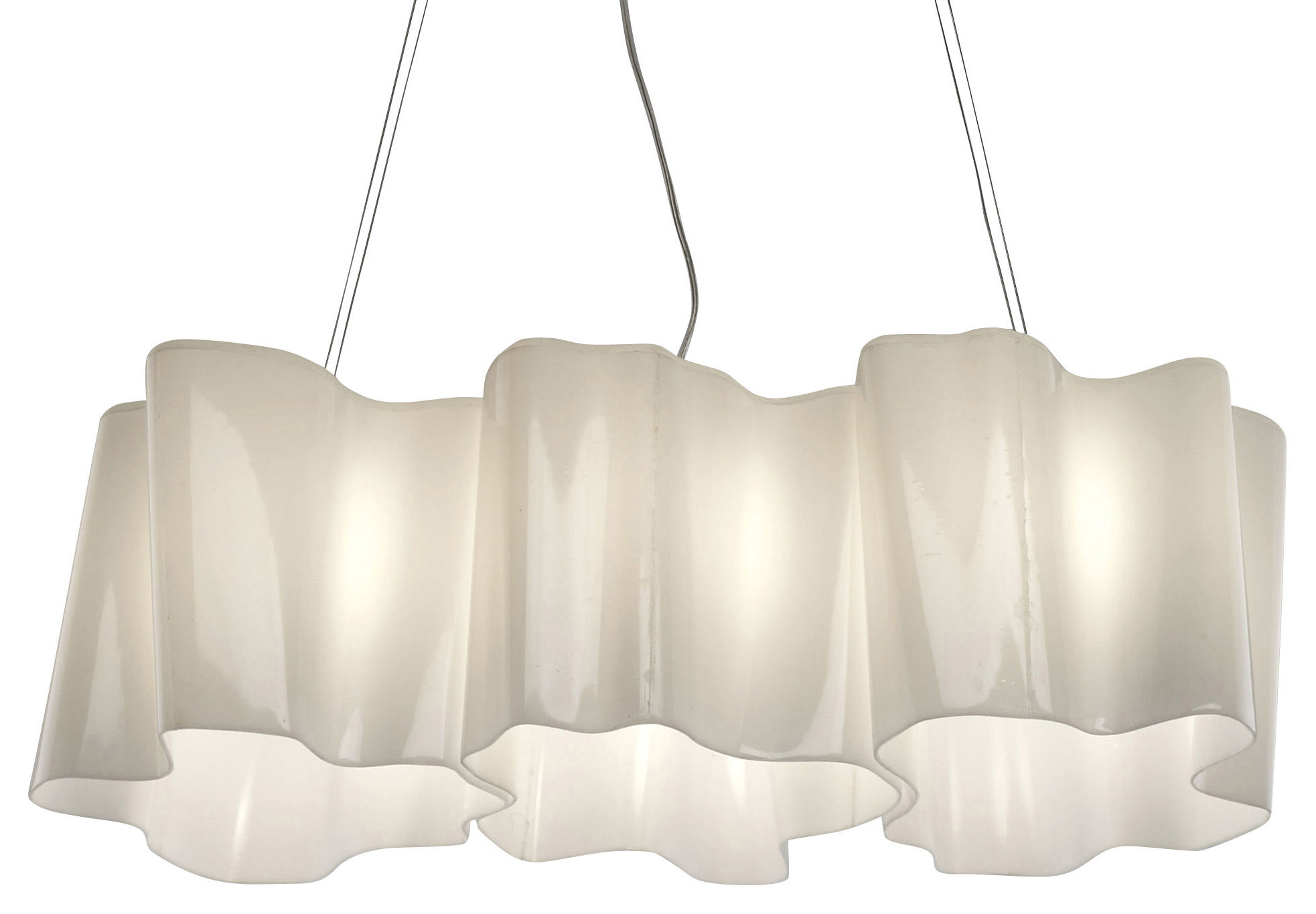 Luminaire - Suspensions - Suspension Logico Mini 3 éléments en ligne - Artemide - Blanc - mini - Verre soufflé