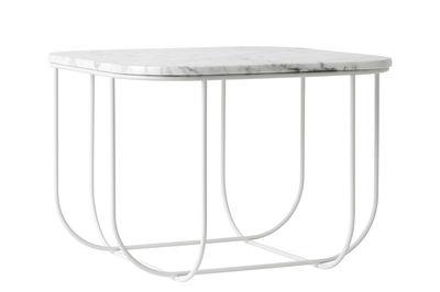 Table d'appoint Cage 43 x 43 cm Marbre Menu blanc en pierre