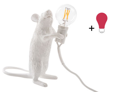 Decoration - Children's Home Accessories - Mouse Standing #1 Table lamp - / Standing mouse - Exclusive by Seletti - Standing mouse / White / Coloured bulb - Resin