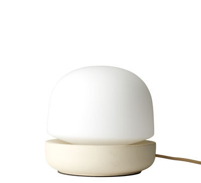 Lighting - Table Lamps - Stone Table lamp - / Ceramic - H 19 cm by Menu - Sand / Opaline glass - Ceramic, Opal Glass