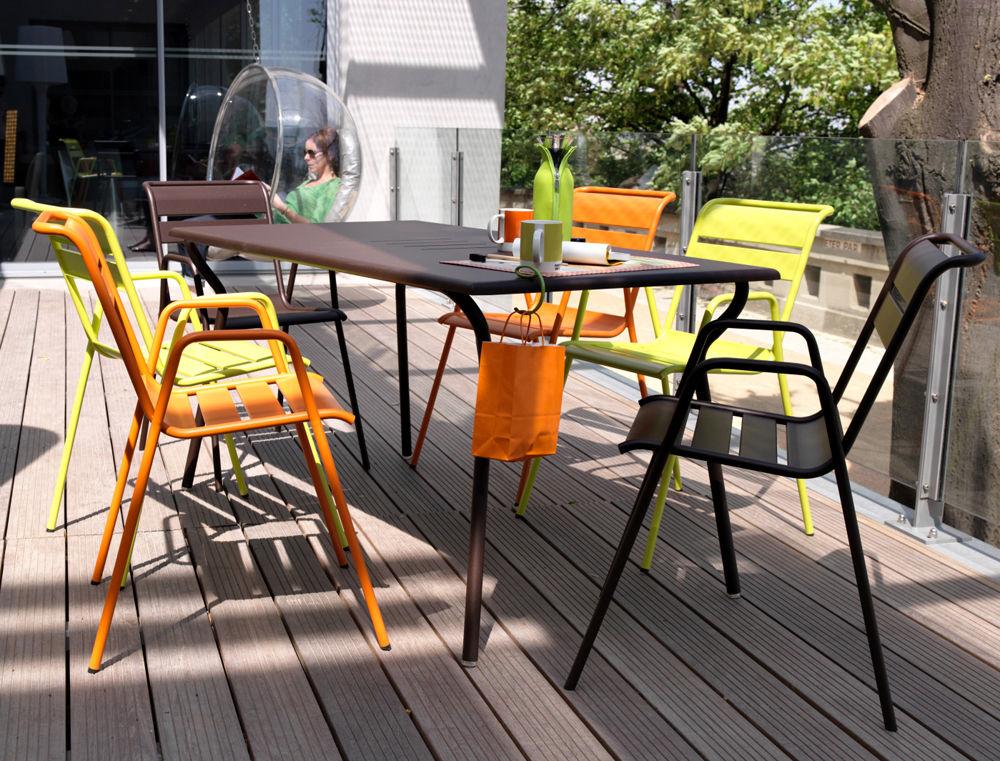 Table rectangulaire Monceau Fermob - Gris métal - h 74   Made In Design