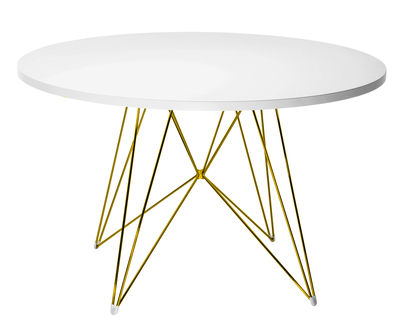 Table XZ3 / Ronde - Ø 120 cm - Magis blanc,or en métal