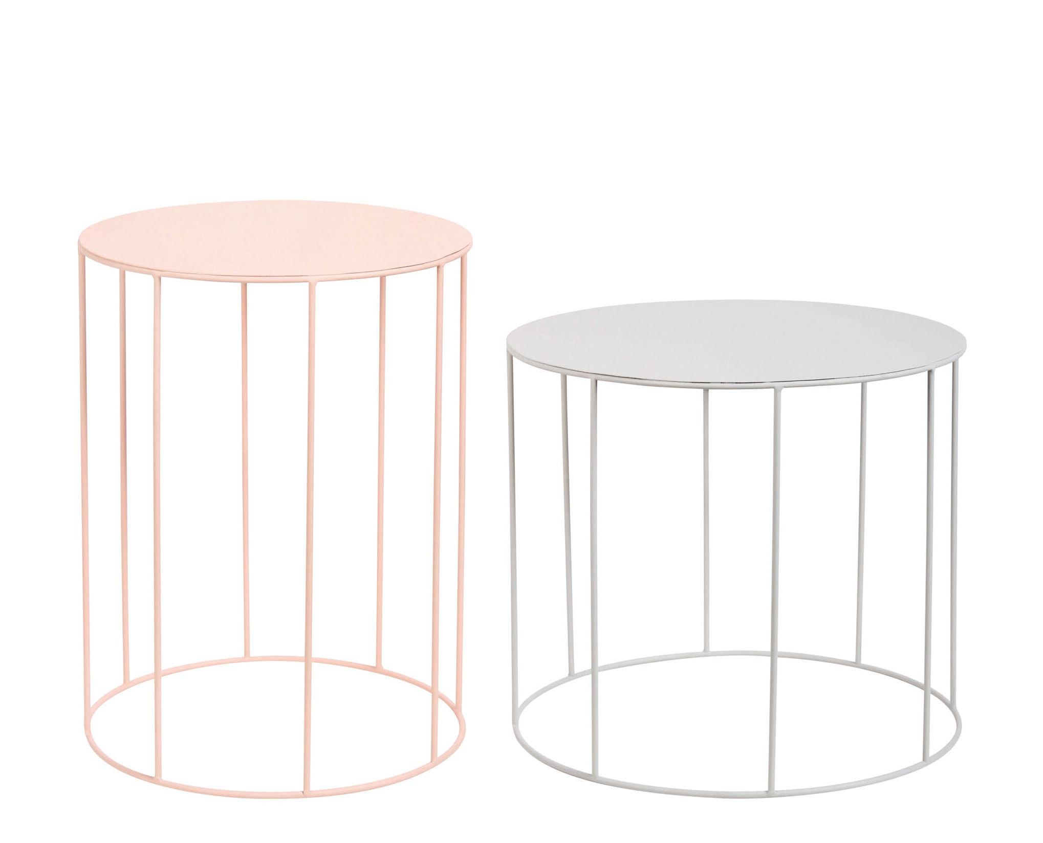 Arredamento - Tavolini  - Tavolino - / Set da 2 - Metallo di & klevering - Grigio / Rosa - metallo verniciato