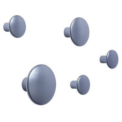 Arredamento - Appendiabiti  - Appendiabiti The Dots Métal - / Set di 5 di Muuto - Blu chiaro - Acciaio